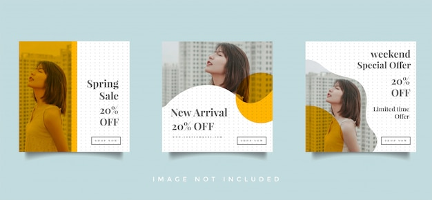 ファッションソーシャルメディアフィードポストプロモーションデザインベクトルコレクション