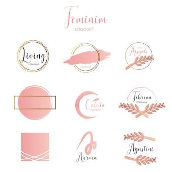 女性とミニマリストのロゴテンプレートコレクション