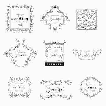 フェミニン・フローラル・ウェディング・ロゴ・コレクション