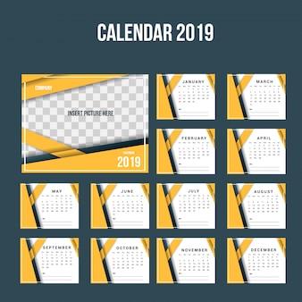 モダンなオレンジ色のコーポレートデスクカレンダー