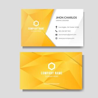 Современная желтая визитка с низким поли