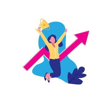 女性事業増加フラットデザイン