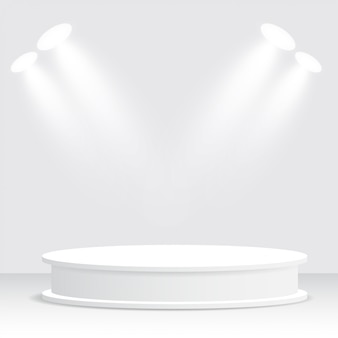 ホワイトポディウム、台座、プラットフォーム、スポットライト