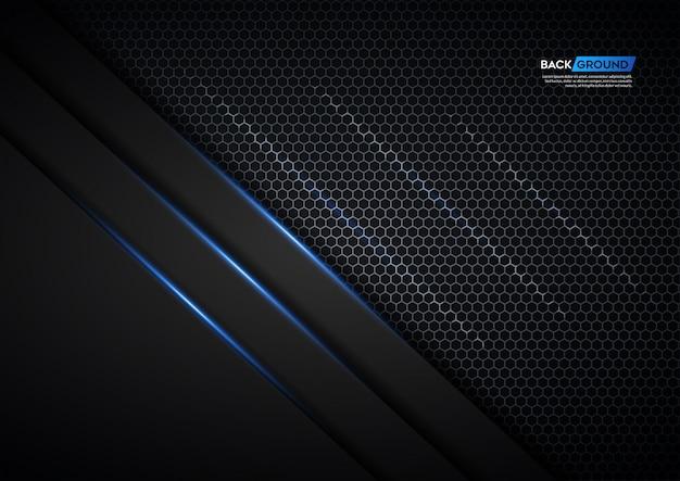 銀色の六角形と青い光で暗い背景の重なり合う層