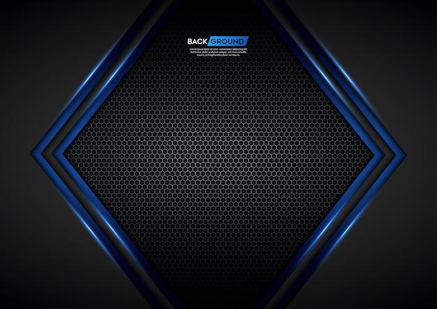 六角形のメッシュバックグラウンドを持つ青い光の矢印黒