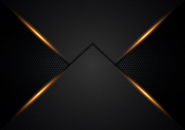 銀色の輝きとオレンジ色の光で暗い背景オーバーラップ層