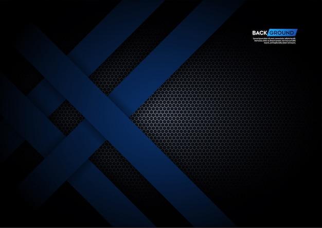 六角形のメッシュバックグラウンドと黒の青い光の矢印カバーテンプレート