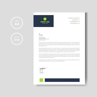 Современный зеленый шаблон бланка макета