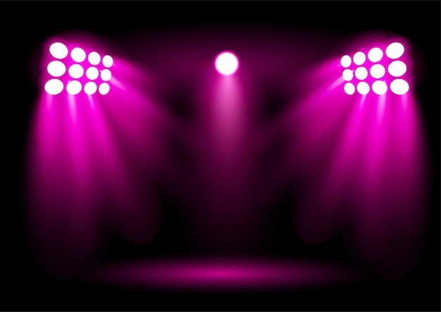 明るい青いスタジアムアリーナ照明スポットライト