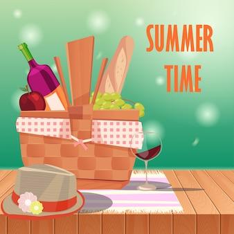 テーブルと春の風景のピクニックバスケット