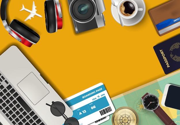 世界の旅行や休暇の背景に関するトップビュー