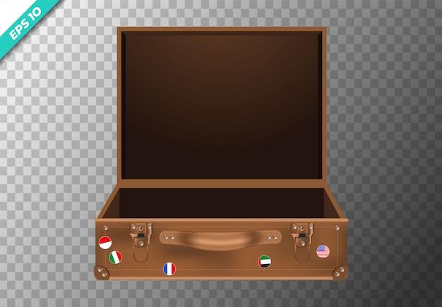Реалистичная коричневая открытая сумка на прозрачном