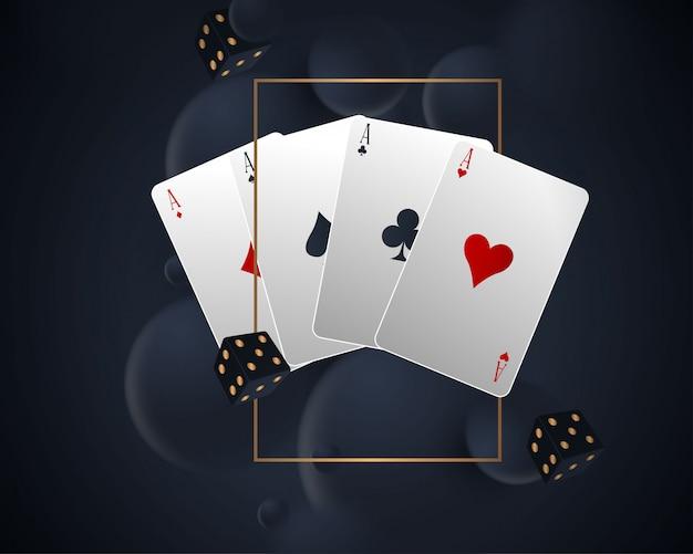 Баннер с четырьмя тузами и несколькими игральными картами на обратной стороне