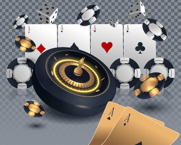 カジノポーカーカードとルーレット盤のデザイン