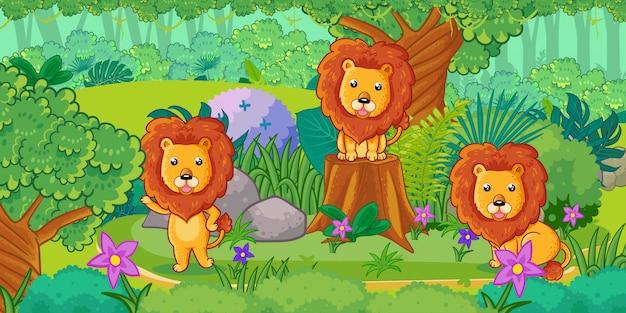Группа милых львов, наслаждаясь в лесу