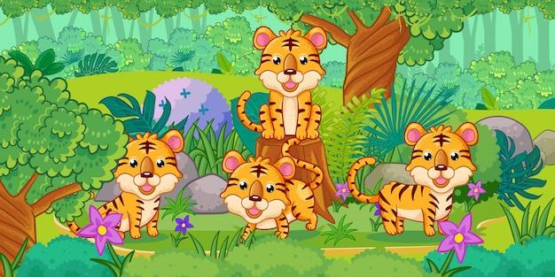 森の中で楽しむ虎のグループ
