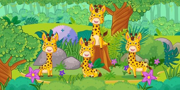 森の中で楽しむキリンのグループ