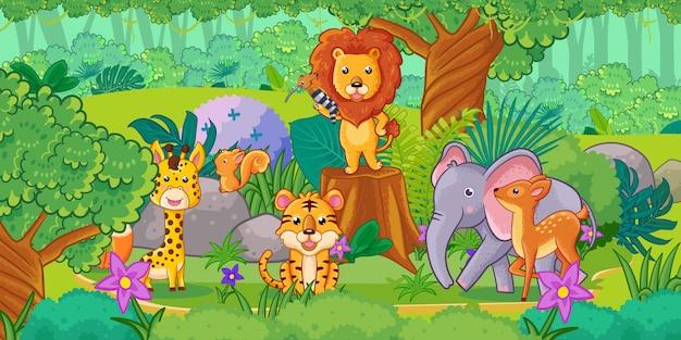 ジャングルの中でかわいい漫画の動物。動物のセット