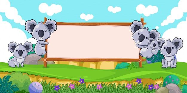 空白の看板とかわいいコアラ
