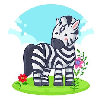 花の草原に立っているかわいいシマウマ。