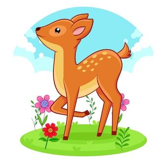 花の草原に立っているかわいい鹿。