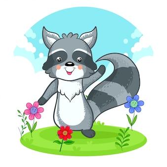 花の草原に立っているかわいいアライグマ。