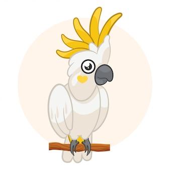 背景色が水色に分離された白いオウムオウム。エキゾチックな鳥。