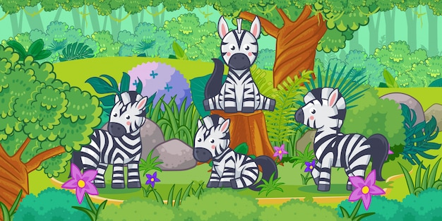 Мультфильм красивый пейзаж с зеброй