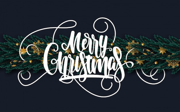 飾られた木の枝とメリークリスマスのグリーティングカード