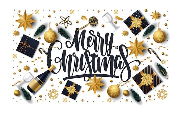 Веселая рождественская открытка с подарками, звездами, шампанским