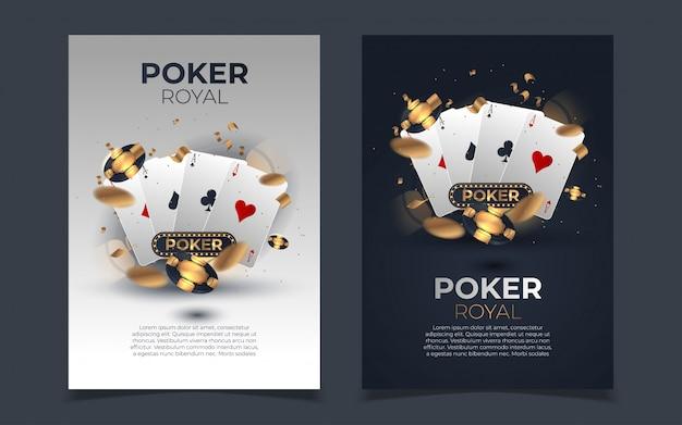 Покер фишки и карты фон. покер казино шаблон постера.