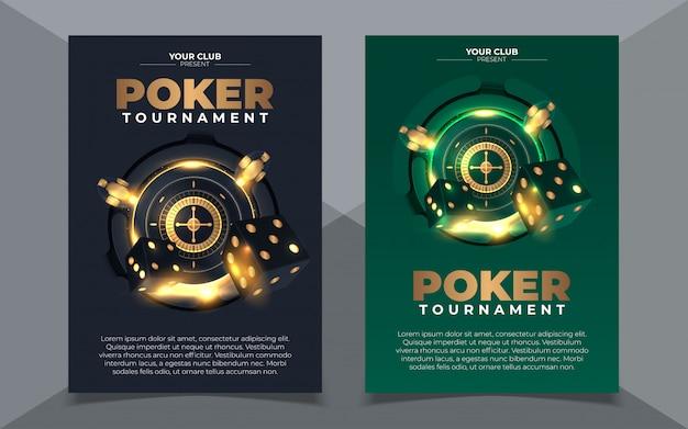 カジノチップとカードでカジノバナーのセット。ポーカークラブテキサスホールデム。