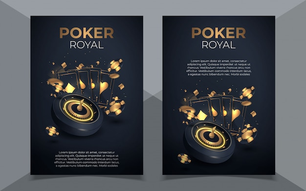 Покер фишки и карты фон. покер казино шаблон постера. флаер дизайн макета.