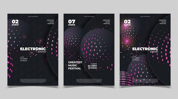 電子音楽のポスターデザイン。ベクトルテンプレート