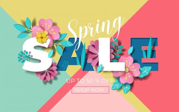 美しいカラフルな花と春販売バナー。