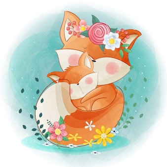 かわいいキツネとママと花