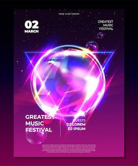 電子音楽祭ポスターモックアップ。エレクトロパーティーのチラシ。フルードカラーカバー。抽象的なグラデーション液体の泡の形のイラスト。クラブの招待状のテンプレート。モダンなデザイン