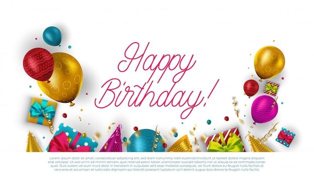 カラフルな風船と紙吹雪と誕生日のお祝いのためのテキストのためのスペースと幸せな誕生日のテキスト。 。