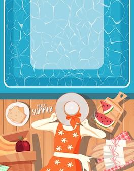 Летний дизайн на фоне бассейна