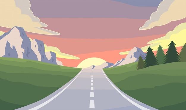 道路旅行のイラスト