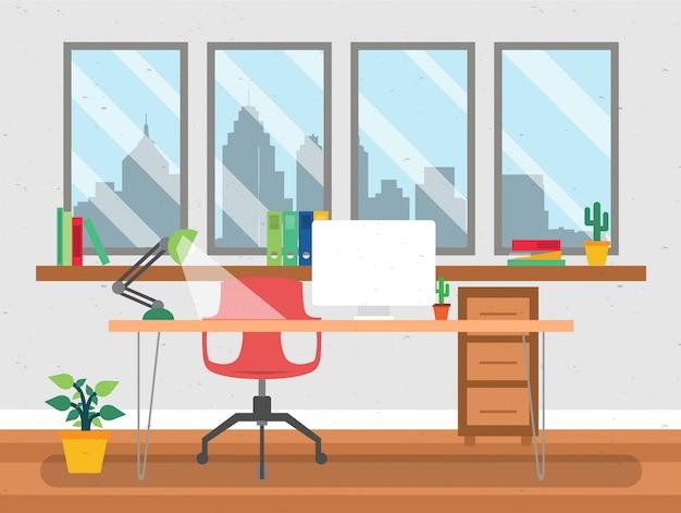 フラットスタイルのオフィスデスクの図