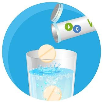 透明な水の入ったグラスに入った健康的な天然ビタミン。ヘルスケアは液体に溶けることを意味します。