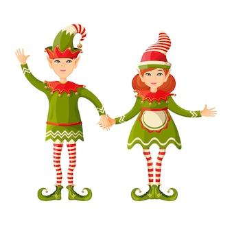 Эльф мальчик и девочка, держась за руки в форме человека сверхъестественного женского и мужского пола