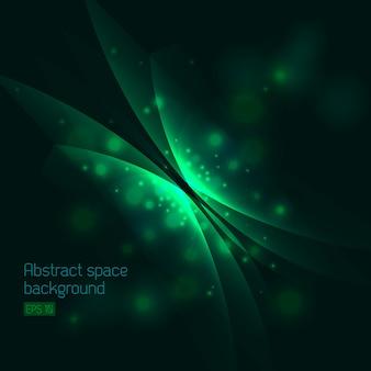 Абстрактный космический фон с зеленой бабочкой