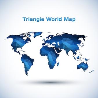 三角形の世界地図イラスト