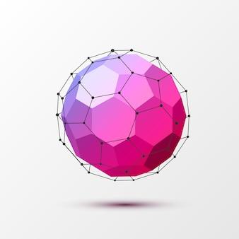 Геометрический округлый шар, многоугольный с черными линиями.