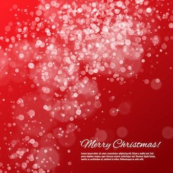 Красный новогодний фон с боке и звездами