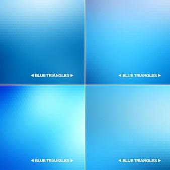抽象的な青い三角形の背景セット