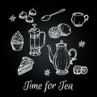 Рука рисовать чаепития векторные иллюстрации.