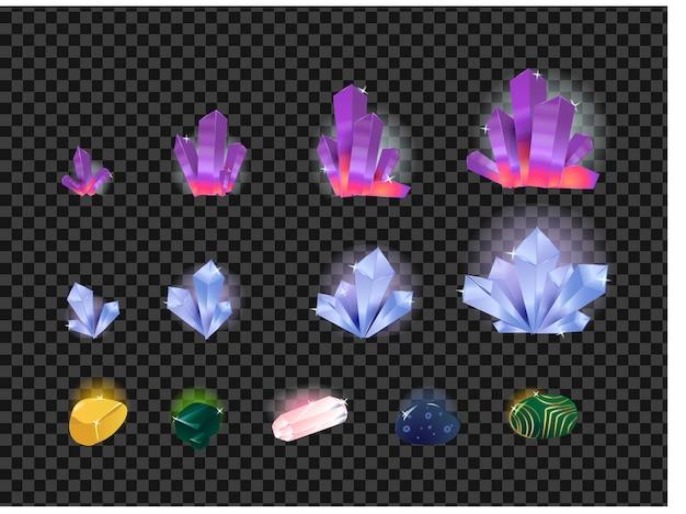 宝石、宝石用原石、透明な背景に分離された結晶のベクトルを設定